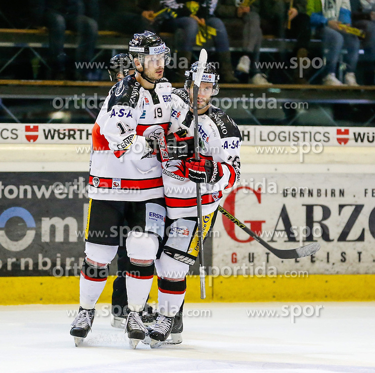 06.01.2015, Messestadion, Dornbirn, AUT, EBEL, Dornbirner EC vs HC Orli Znojmo, 36. Runde, im Bild Torjubel bei HC Orli Znojmo // during the Erste Bank Icehockey League 36 rd round match between Dornbirner EC and HC Orli Znojmo at the Messestadion in Dornbirn, Austria on 2015/01/06, EXPA Pictures © 2015, PhotoCredit: EXPA/ Peter Rinderer