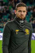 Craig Gordon (#1) during the Europa League match between Celtic and Rennes at Celtic Park, Glasgow, Scotland on 28 November 2019.