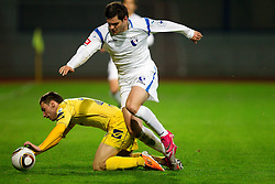 Matic Seferovic of Domzale vs Alen Joan of Gorica during football match between NK Domzale and HIT Gorica of 25th Round of PrvaLiga, on April 1, 2011, in Sports park Domzale, Slovenia. (Photo by Vid Ponikvar / Sportida)