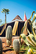 Berber nomadic tent art instalment at the Anima Gardens by Andre Heller, Ourika Valley, Marrakesh, Morocco, 2016–04-22. <br />