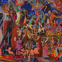 Giant Circus Mural at Ringling Museum of Art in Sarasota, Florida <br />