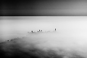 The skyline of downtown Chicago peaks through the morning fog that rolls in off of Lake Michigan. I spotted this image while landing at O'Hare airport in Chicago while on my way to New York. November 2012.