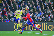 Everton Defender Seamus Coleman heads away from Crystal Palace Defender Jeffrey Schlupp during the Premier League match between Crystal Palace and Everton at Selhurst Park, London, England on 21 January 2017. Photo by Jon Bromley.