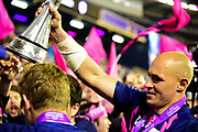 Sergio Parisse shows Challenge Cup to fans after winning the European Rugby Challenge Cup match between Gloucester Rugby and Stade Francais at BT Murrayfield, Edinburgh, Scotland on 12 May 2017. Photo by Kevin Murray.