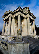 The Casino at Marino was designed by Scottish architect Sir William Chambers for James Caulfield, the 1st Earl of Charlemont. It was started in the late 1750s and finished around 1775. It is a small but  perfect example of Neo-Classical architecture in the gardens of the now demolished Marino House. Chambers was prouod of his work, never completed building due to work commitments in England.....The rather odd (by Irish standards) name 'Casino Marino' is derived from Italian which literally translates to 'The small house by the small sea'. Sightly pretentious, yes, but that was the taste of the time. Regarded by many as the most important Neo-Classical building in Ireland, the Casino is only fifty feet square to the outer columns, taking the form of a Greek Cross with a pair of columns framing each projecting elevation. Seen from the outside, the building has the appearance of a single-roomed structure, with a large panelled door on the north elevation and a single large window on each of the other elevations. It's all an illusion, however - the Casino actually has 16 rooms on three floors. Only two of the panels in the front door open, and the panes of glass in the windows are subtly curved, disguising the partitioning which allows what looks like a single window to serve several separate rooms. The curves also serve to act as one-way-mirrors - you can see out of the front window looking towards Dublin and the mountains, but if you try to look in, you just see reflections of the sky and garden. Inside is full of mouldings based on Roman and Greek mythology, with lots of other architectural tricks. ......