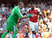 Football - 2018 / 2019 Premier League - Arsenal vs Crystal Palace<br /> <br /> Palace goalkeeper, Vicente Guaita consoles Alexandre Lacazette at the final whistle at the Emirates<br /> <br /> Colorsport  / Andrew Cowie