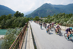 The peloton speed across a bridge at the northern tip of the circuit at Giro Rosa 2018 - Stage 5, a 122.6 km road race starting and finishing in Omegna, Italy on July 10, 2018. Photo by Sean Robinson/velofocus.com