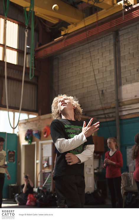 The Schoolfest programme in the New Zealand International Arts Festival gets kids and artists together to share, learn, and exchange ideas.  In this workshop, performers from Cirkus Cirkor's show Inside Out teach students juggling, aerial work, and tumbling.
