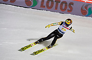 Poland, Wisla Malinka - 2017 November 18: Noriaki Kasai from Japan competes while Men&rsquo;s Team HS134 competition during FIS Ski Jumping World Cup Wisla 2017/2018 - Day 2 at jumping hill of Adam Malysz on November 18, 2017 in Wisla Malinka, Poland.<br /> <br /> Mandatory credit:<br /> Photo by &copy; Adam Nurkiewicz<br /> <br /> Adam Nurkiewicz declares that he has no rights to the image of people at the photographs of his authorship.<br /> <br /> Picture also available in RAW (NEF) or TIFF format on special request.<br /> <br /> Any editorial, commercial or promotional use requires written permission from the author of image.