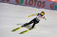 Poland, Wisla Malinka - 2017 November 18: Noriaki Kasai from Japan competes while Men's Team HS134 competition during FIS Ski Jumping World Cup Wisla 2017/2018 - Day 2 at jumping hill of Adam Malysz on November 18, 2017 in Wisla Malinka, Poland.<br /> <br /> Mandatory credit:<br /> Photo by © Adam Nurkiewicz<br /> <br /> Adam Nurkiewicz declares that he has no rights to the image of people at the photographs of his authorship.<br /> <br /> Picture also available in RAW (NEF) or TIFF format on special request.<br /> <br /> Any editorial, commercial or promotional use requires written permission from the author of image.