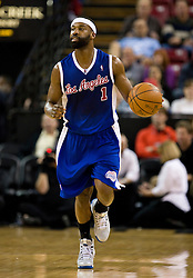 February 28, 2010; Sacramento, CA, USA;  Los Angeles Clippers guard Baron Davis (1) during the first quarter against the Sacramento Kings at the ARCO Arena.  Sacramento defeated Los Angeles 97-92.