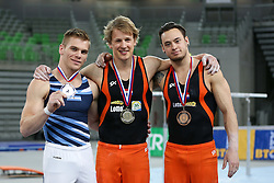 05-04-2015 SLO: World Challenge Cup Gymnastics, Ljubljana<br /> Winner Epke Zonderland of Netherland, second place for Nicolas Cordoba of Australia and third place for Bart Deurloo of Netherland in Horizontal Bar during Final of Artistic Gymnastics World Challenge Cup Ljubljana, on April 5, 2015 in Arena Stozice, Ljubljana, Slovenia. Photo by Morgan Kristan / RHF Agency