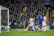 Leicester City Goalkeeper Kasper Schmeichel (1) claims this cross during the Premier League match between Leicester City and Burnley at the King Power Stadium, Leicester, England on 10 November 2018.