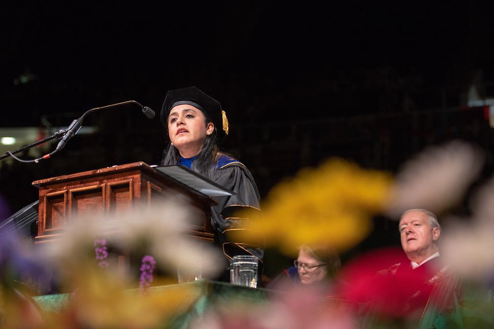 OHIO Professor Devika Chawla devilers the keynote address at graduate commencement. Photo by Ben Siegel