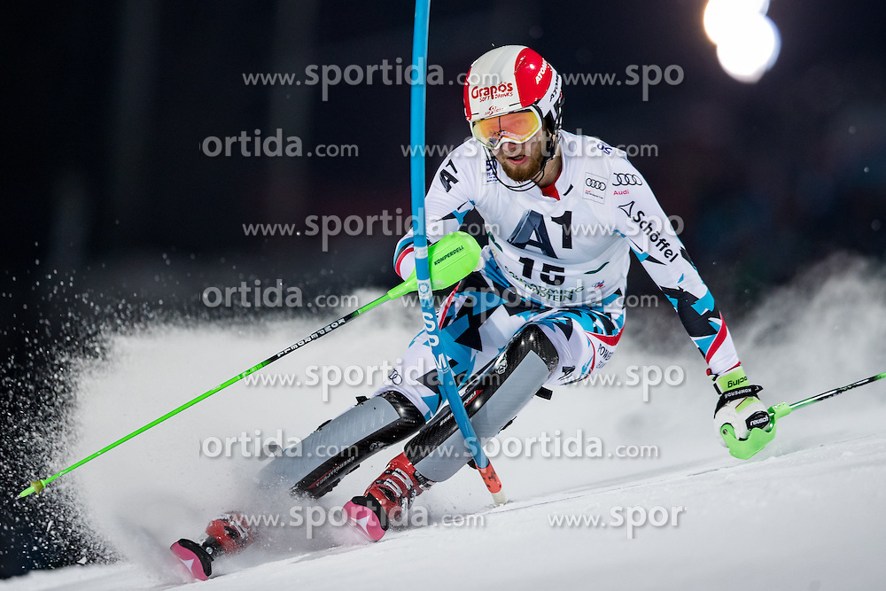 24.01.2017, Planai, Schladming, AUT, FIS Weltcup Ski Alpin, Schladming, Slalom, Herren, 1. Lauf, im Bild Marco Schwarz (AUT) // Marco Schwarz of Austria in action during his 1st run of men's Slalom of FIS ski alpine world cup at the Planai in Schladming, Austria on 2017/01/24. EXPA Pictures © 2017, PhotoCredit: EXPA/ Johann Groder