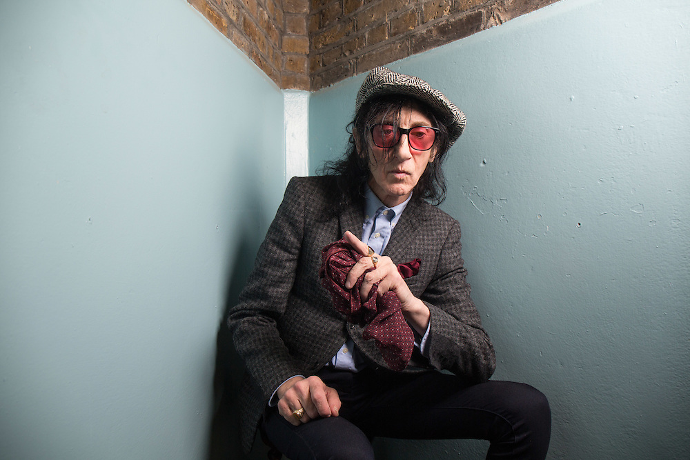 Punk poet John Cooper Clarke at A Child of Jago store opening on Charing Cross Road in London on Thursday 16th October 2014<br />