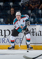 KELOWNA, CANADA - SEPTEMBER 3: Tomas Soustal #15 of Kelowna Rockets skates with the puck against the Victoria Royals on September 3, 2016 at Prospera Place in Kelowna, British Columbia, Canada.  (Photo by Marissa Baecker/Shoot the Breeze)  *** Local Caption *** Tomas Soustal;