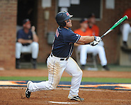 Mississippi's Zach Miller (1) drives in Mississippi's Matt Snyder (33) with a double vs. Virginia during an NCAA Regional game at Davenport Field in Charlottesville, Va. on Saturday, June 5, 2010.
