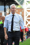Alan Pardew bears a brave face after the Barclays Premier League match between Crystal Palace and Manchester City at Selhurst Park, London, England on 12 September 2015. Photo by Michael Hulf.