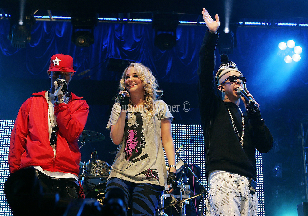 """(L-R) Richard """"Fazer"""" Rawson,Tula """"Tulisa"""" Contostavlos and Dino """"Dappy"""" Contostavlos   performs live on the Main stage during day two of 'Radio 1's Big Weekend' at Lydiard Country Park on May 10, 2009 in Swindon, England.(Photo by Simone Joyner)"""