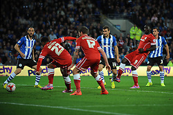 Cardiff City's Kenwyne Jones assists Cardiff City's Nicky Maynard for his goal - Photo mandatory by-line: Dougie Allward/JMP - Mobile: 07966 386802 19/08/2014 - SPORT - FOOTBALL - Cardiff - Cardiff City Stadium - Cardiff City v Wigan Athletic - Sky Bet Championship