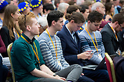 Liberal Democrats Autumn Conference in Brighton, East Sussex 17th September 2018 <br /> Audience watch <br /> Nick Clegg <br /> Interview with Guardian journalist Heather Stewart <br /> <br /> Former deputy prime minister Nick Clegg <br /> <br /> Photograph by Elliott Franks
