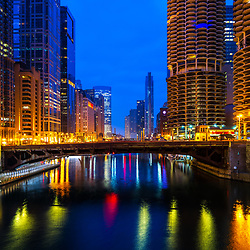 Downtown Chicago River at night cityscape with State Street Bridge (Bataan-Corregidor Memorial Bridge) and Marina City Towers. Photo is ultra high resolution and Copyright ⓒ 2019 Paul Velgos with All Rights Reserved.