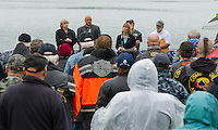 Governor Maggie Hassan speaks to the crowd gathered at Hesky Park in Meredith following the Freedom Ride on Thursday evening.  With Governor Hassan are Senator Jeanie Forrester, Phil Warren, Artie Atkinson and Bob Jones.  (Karen Bobotas/for the Laconia Daily Sun)