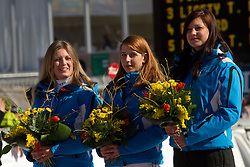 Hosteses during 2nd Rund of Men's Giant Slalom of FIS Ski World Cup Alpine Kranjska Gora, on March 5, 2011 in Vitranc/Podkoren, Kranjska Gora, Slovenia.  (Photo By Vid Ponikvar / Sportida.com)