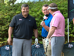 Ole Miss head football coach Matt Luke and Georgia head football football coach Kirby Smart during the Chick-fil-A Peach Bowl Challenge Closest to the Pin Skills Competition at the Ritz Carlton Reynolds, Lake Oconee, on Monday, April 29, 2019, in Greensboro, GA. (Dale Zanine via Abell Images for Chick-fil-A Peach Bowl Challenge)