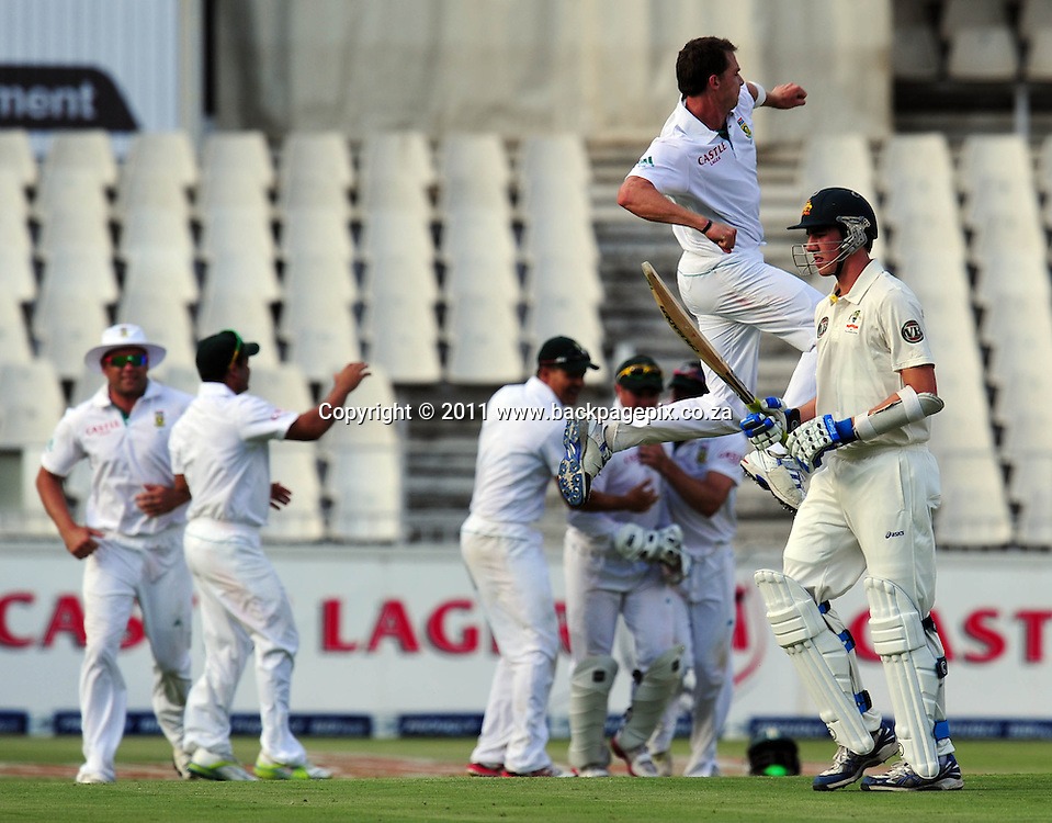 Dale Steyn of South Africa celebrates the wicket of Peter Cummins of Australia <br /> &copy; Barry Aldworth/Backpagepix