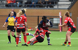 Simi Pam of Bristol Bears Women is tackled by Charlotte Faux of Gloucester-Hartpury Women - Mandatory by-line: Paul Knight 12/2019 - RUGBY - Shaftesbury Park - Bristol, England - Bristol Bears Women v Gloucester-Hartpury Women - Tyrrells Premier 15s