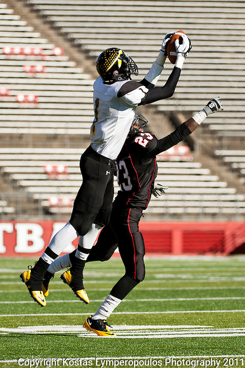 Decmber 3, 2011; Piscataway, NJ, USA; Tajae Sharpe (1) leaps to make a 66-yard touchdown reception and run during the NJSIAA North Jersey, Section 2, Group 4 championship high school football game against Elizabeth at High point Stadium in Piscataway, NJ. Mandatory Credit: Kostas Lymperopoulos
