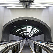 December 12, 2016 - New York, NY : Escalators, with their panels still missing, lead up from the 72nd Street Second Avenue station. After years of delays, the new subway line is preparing to welcome its first straphangers.  CREDIT: Karsten Moran for The New York Times