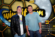 CINCINNATI, OH - OCTOBER 5:  Nick Lachey poses with friend and former 98 Degrees band member Justin Jeffre during the kickoff to The Everybody Wins Tour at Freestore Foodbank on October 5, 2009 in Cincinnati, Ohio. (Photo by Joe Robbins/WireImage for Foodbank)