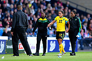 Kalya McCoy (#22) of Jamaica is helped from the field after sustaining an injury during the International Friendly match between Scotland Women and Jamaica Women at Hampden Park, Glasgow, United Kingdom on 28 May 2019.