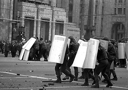 Russian special forces clash with Muscovite which building barricades in downtown of Moscow during a constitutional crisis in Moscow, Russia, 02 October 1993. The constitutional crisis of 1993 was a political stand-off between the Russian president and the Russian parliament that was resolved by using military force. The relations between the president and the parliament had been deteriorating for a while. The constitutional crisis reached a tipping point on 21 September 1993, when President Boris Yeltsin purported to dissolve the country's legislature (the Congress of People's Deputies and its Supreme Soviet), although the president did not have the power to dissolve the parliament according to the then-current constitution. Yeltsin used the results of the referendum of April 1993 to justify his actions. In response, the parliament declared that the president's decision was null and void, impeached Yeltsin and proclaimed vice president Aleksandr Rutskoy to be acting president.The situation deteriorated at the beginning of October. On 3 October, demonstrators removed police cordons around the parliament and, urged by their leaders, took over the Mayor's offices and tried to storm the Ostankino television centre. The army, which had initially declared its neutrality, by Yeltsin's orders stormed the Supreme Soviet building in the early morning hours of 4 October, and arrested the leaders of the resistance. The ten-day conflict had seen the deadliest street fighting in Moscow since October 1917.[2] According to government estimates, 187 people were killed and 437 wounded, while sources close to Russian communists put the death toll at as high as 2,000.