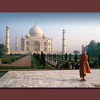 Buddhist Monk, The Taj Mahal, Agra, India, canvas, print,