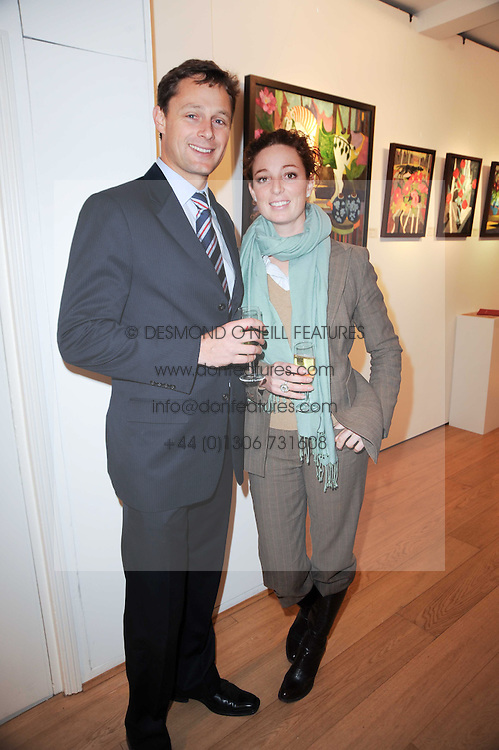 BENJAMIN HOSACK and CATHERINE BURRELL at a private view of recent paintings, drawings and prints by Dione Verulam (Countess of Verulam) held at Sladmore Contemporary art gallery, 32 Bruton Place, London on 10th February 2010.