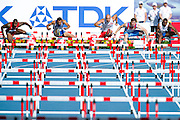 (L-R) David Oliver from USA and Konstadinos Douvalidis from Greece and Artur Noga from Poland and Sergey Shubenkov from Russia and Ignacio Morales from Cuba compete in men's 110 meters hurdles qualification during the 14th IAAF World Athletics Championships at the Luzhniki stadium in Moscow on August 11, 2013.<br /> <br /> Russian Federation, Moscow, August 11, 2013<br /> <br /> Picture also available in RAW (NEF) or TIFF format on special request.<br /> <br /> For editorial use only. Any commercial or promotional use requires permission.<br /> <br /> Mandatory credit:<br /> Photo by &copy; Adam Nurkiewicz / Mediasport