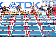 (L-R) David Oliver from USA and Konstadinos Douvalidis from Greece and Artur Noga from Poland and Sergey Shubenkov from Russia and Ignacio Morales from Cuba compete in men's 110 meters hurdles qualification during the 14th IAAF World Athletics Championships at the Luzhniki stadium in Moscow on August 11, 2013.<br /> <br /> Russian Federation, Moscow, August 11, 2013<br /> <br /> Picture also available in RAW (NEF) or TIFF format on special request.<br /> <br /> For editorial use only. Any commercial or promotional use requires permission.<br /> <br /> Mandatory credit:<br /> Photo by © Adam Nurkiewicz / Mediasport