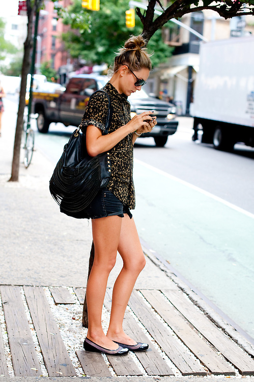 Leopard Print Top and Cut Offs, Prince Street