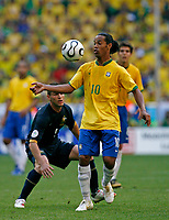 Photo: Glyn Thomas.<br />Brazil v Australia. Group F, FIFA World Cup 2006. 18/06/2006.<br /> Brazil's Ronaldinho.