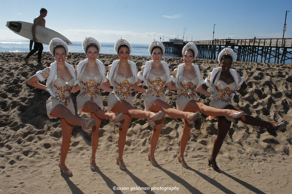 The Radio City Rockettes kick it up on Newport Beach, Calif. The Rockettes, celebrating their 75th anniversary, are performing their Radio City Christmas Spectacular in southern California. Photo/Newport Beach Conference and Visitors Bureau, Susan Goldman.