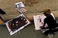 France. Marseille. la castellane. painting for children in the suburb. association art et developpement  Marseille  France   / cite la castellane. atelier de peinture dans les cites organise par l'association art et developpement   Marseille  France