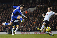 Eden Hazard of Chelsea scores his sides second goal to make the scoreline 4-2 during the Barclays Premier League match between Tottenham Hotspur and Chelsea  at White Hart Lane, London<br /> Picture by Richard Blaxall/Focus Images Ltd +44 7853 364624<br /> 01/01/2015