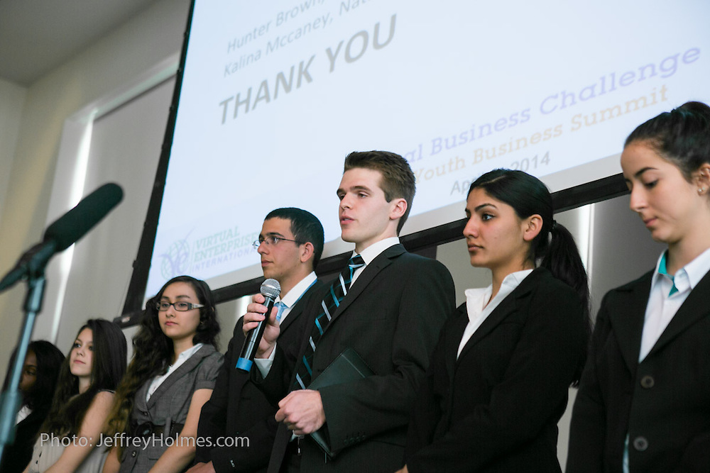 Championship Round Presentations by groups of multinational students during Virtual Enterprises International's Global Business Challenge was part of the Youth Business Summit held in New York. (Photo: JeffreyHolmes.com)