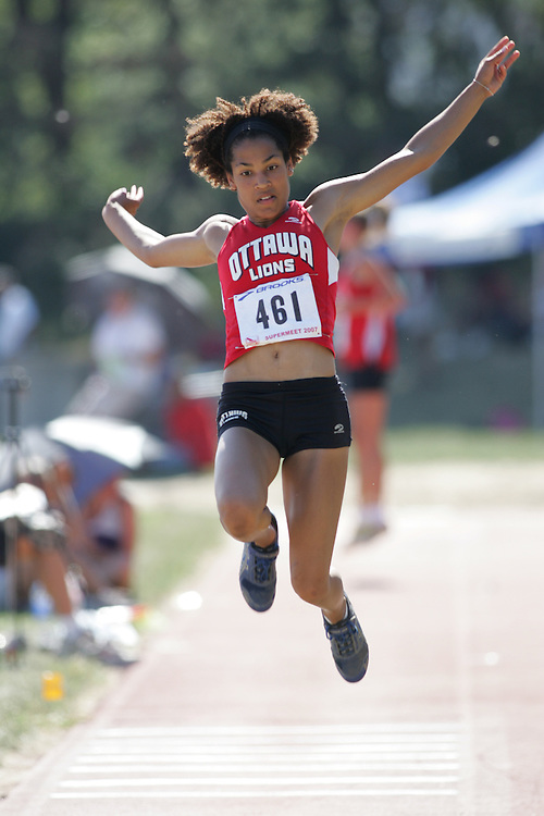 Karelle Edwards competing in the juvenile girls long jump at the 2007 OTFA Supermeet II. The Ontario Track and Field Association Bantam-Midget-Juvenile Championships were held in Toronto from August 3rd to 5th.