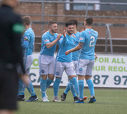 Forfar Athletic's Dylan Easton celebrates after scoring their second goal. Forfar Athletic 3 v 0 East Fife, Scottish Football League Division One game played 2/3/2019 at Forfar Athletic's home ground, Station Park, Forfar.