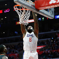 08 January 2018: LA Clippers center DeAndre Jordan (6) goes for the dunk during the LA Clippers 108-107 victory over the Atlanta Hawks, at the Staples Center, Los Angeles, California, USA.